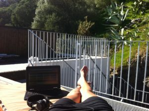 working from a rooftop in Portugal